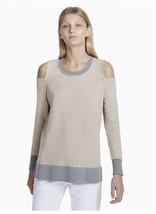 Calvin Klein Colorblock Cold Shoulder Pullover Knit Top, X-Large, Beige - $30.00