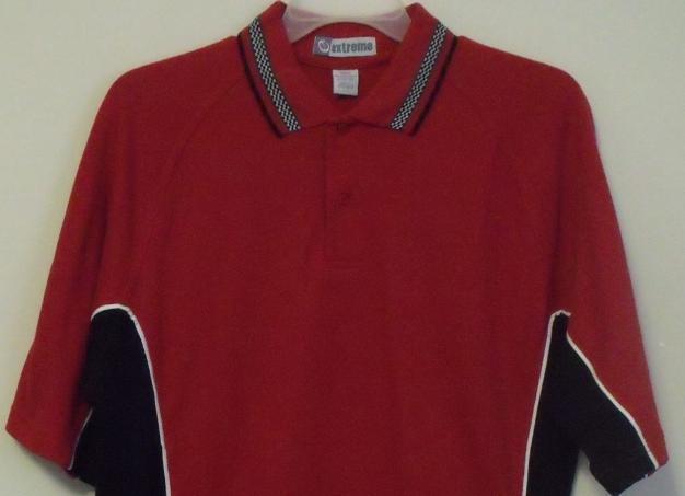 Mens NWT Red Black White Trim Short Sleeve Polo Shirt Size Large