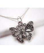Marcasite Butterfly Necklace 925 Sterling Silver Corona Sun Jewelry - $19.79