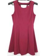 Lauren Conrad Burgundy Sleeveless Fit Flare Stretch Mini Dress Womens Si... - $15.64