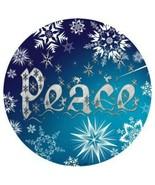 "Peace Christmas Snowflake Winter Novelty Metal Circle Sign 12"" Wall Decor - DS - $21.95"