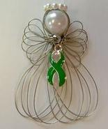 Green Awareness Ribbon Angel Ornament Handmade - $8.00