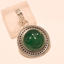 Natural Russian Green Onyx Face Gemstone Sterling Silver Penant Fine Jew... - $19.30