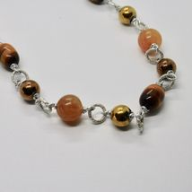 NECKLACE THE ALUMINIUM LONG 48 CM WITH TIGER'S EYE JADE AND HEMATITE image 9