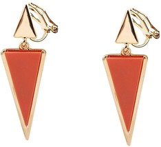 Clip on Earring Back with Pad Double Triangle Dangle for Girl no Piercing Orange - $47.02