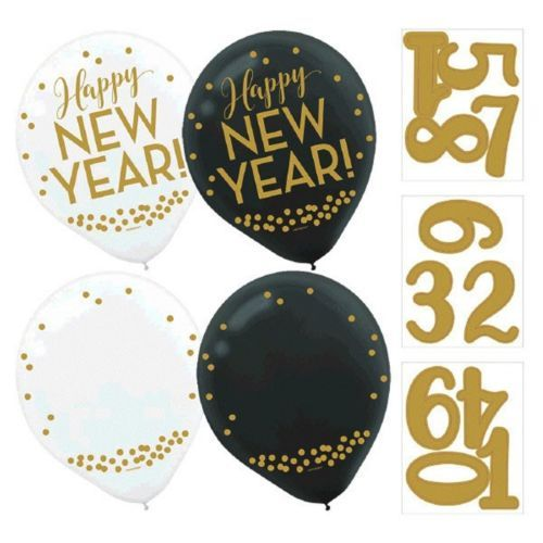 "Customize Happy New Year! 12  Black White Helium Quality 12"" Latex Balloons"