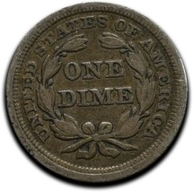 1853 Silver Seated Dime 10¢ Coin Lot# A 521 image 2