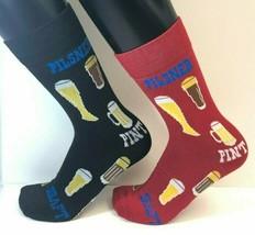 2 PAIRS Foozys Men's Socks BEER Draft Pint Pilsner, NOP Ships Free - $8.09
