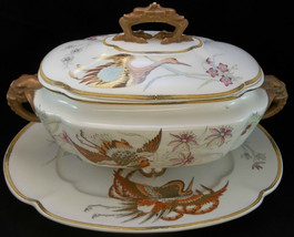 Antique 1874 Royal Worcester Elephant Phoenix Covered Tureen Platter Gilded - $311.85