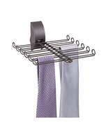 mDesign Metal Adjustable Wall Mount Tie and Belt Rack Organizer for Clos... - $13.11