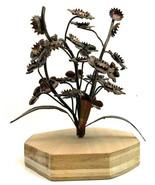 Mid Century Modern Brass Floral Sculpture on Base Vintage - $26.68