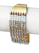 Nakamol Button Closure Hand Hammered Gold White Austrian Crystal Beaded Bracelet