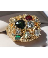 14k Gold Nugget Style Gemstone Ring  1.45 ct Diamond + Ruby + Emerald   ... - $7,125.00