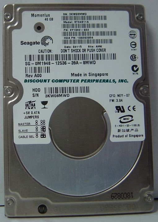 """40GB IDE 44PIN 2.5"""" 9.5mm Seagate ST94811A Free USA Shipping Our Drives Work"""