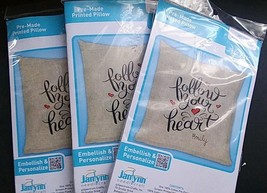 "Set of 3 New Janlynn Follow Your Heart Pre-Made Printed Pillow Kits 14"" ... - $24.74"