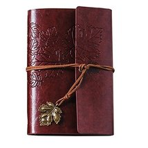 Diary Book, PU Leather Notebook, Journal Notebook [Maple Leaf, Brick Red] - $17.73