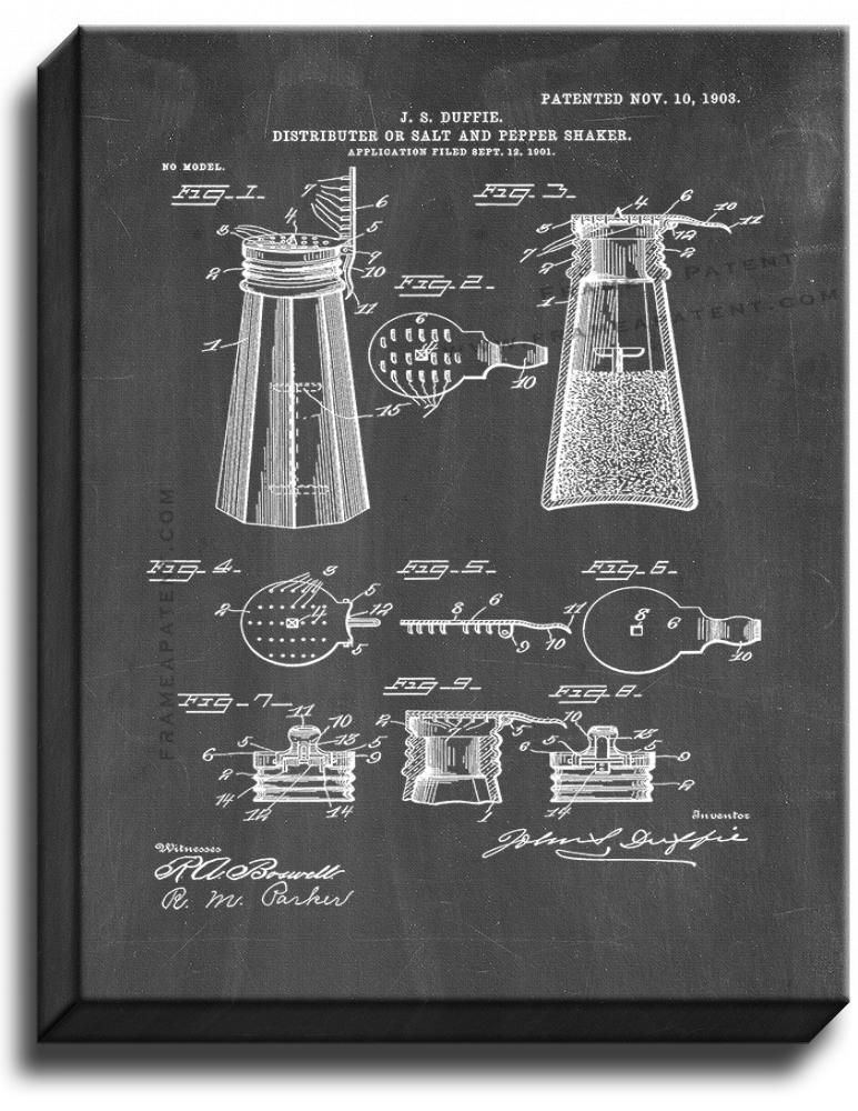 Primary image for Salt and Pepper Shaker Patent Print Chalkboard on Canvas
