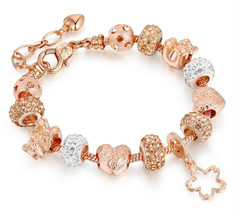 Fashion Rose gold plated Glass Crystal Bead Charm Bracelet for women Jew... - $11.99+