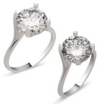 925 Sterling Silver Solitaire Zircon White Women's Ring - GSUB - $22.35