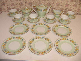 21 Aichi China Occupied Japan Tea Pitcher Creamer Sugar Bowl 6 Plate Sau... - $145.00
