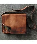 Men's Handmade Vintage Brown Leather Messenger Bag Genuine Leather Shoul... - $47.85+