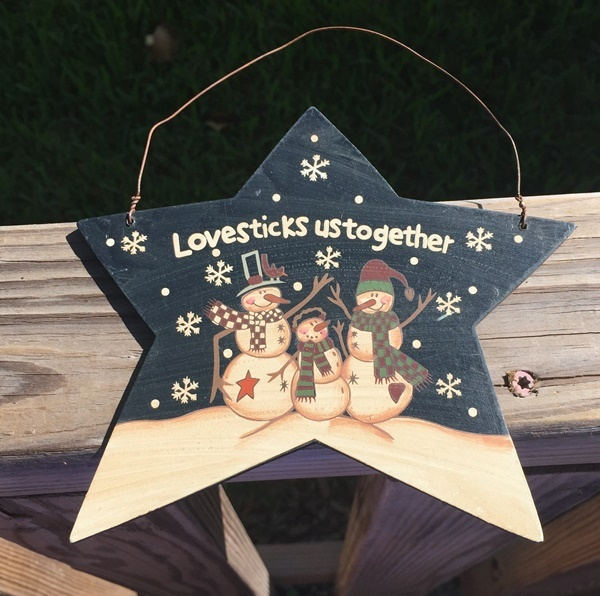 Primitive Wood 4941 Love Sticks Us Together Star Snowman Christmas Ornament