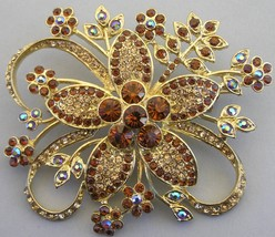 HUGE Vintage Rhinestone Flower Brooch AB Amber Pin Floral - $14.99