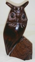 "Vtg Carved Horned Owl on Rock 6"" Figurine - $34.64"