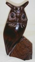 """Vtg Carved Horned Owl on Rock 6"""" Figurine - $34.64"""