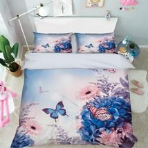 3D Blue Peony Butterfly 0 Bed Pillowcases Quilt Duvet Single Queen King US Lemon - $102.84+