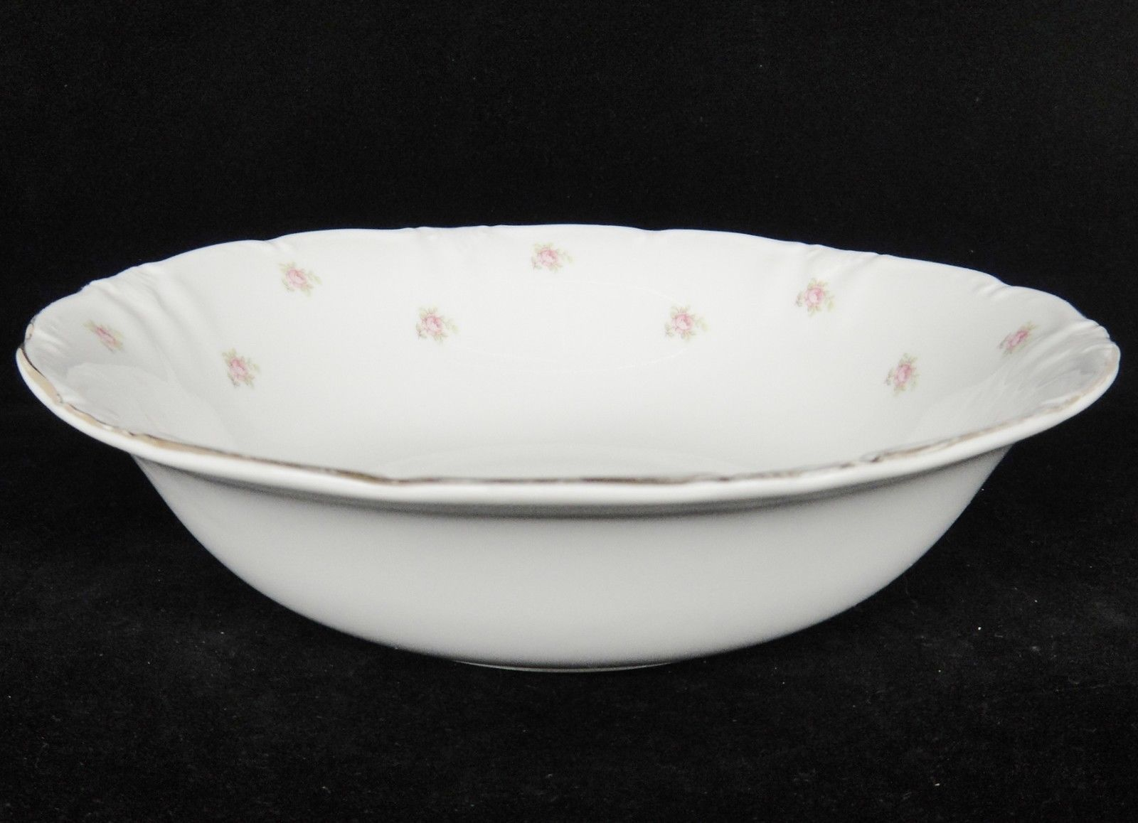 "Vintage Winterling Rosedot 9"" Round Vegetable Serving Bowl Pink Roses Bavaria image 2"
