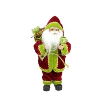 "12"" Grand Imperial Red, Green and Gold Standing Santa Claus Christmas Fi... - $27.71"