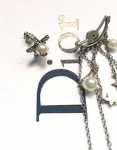 AUTHENTIC Christian Dior STAR CD LOGO CHARM Multi Chain Long Dangle Earrings image 12