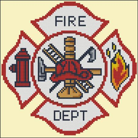 Primary image for Fire Dept Emblem cross stitch chart Pinoy Stitch