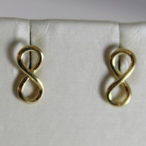 18K YELLOW GOLD EARRINGS WITH MINI INFINITY SYMBOL, INFINITE, MADE IN ITALY - $126.00