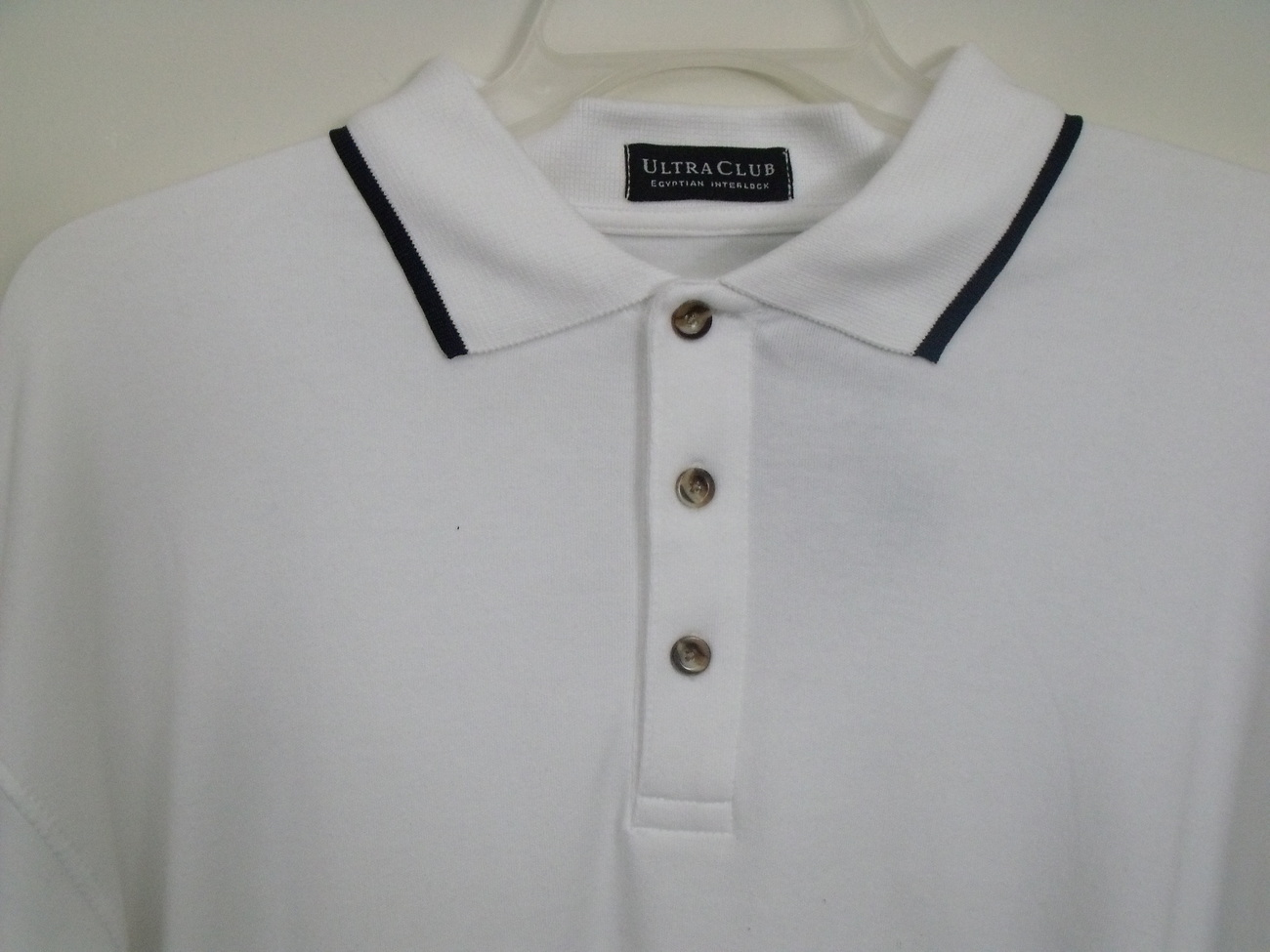 Mens ultraclub nwt white black trim long sleeve polo shirt for Longer length mens polo shirts