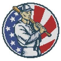 Baseball Emblem cross stitch chart Pinoy Stitch - $5.00