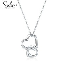 925 Sterling Silver Necklace Double Heart Love Pendant - $19.75