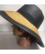 Straw Hat Ladies Black Tan Wide Brim Floppy Foldable Summer Beach - $24.53