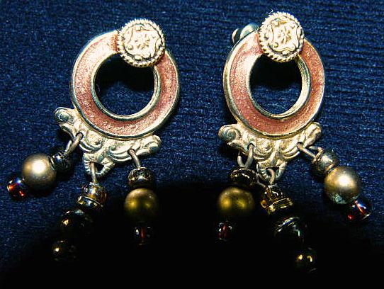 Renaissance Style Jewel Tone Bead Dangle Earrings Pierced Post