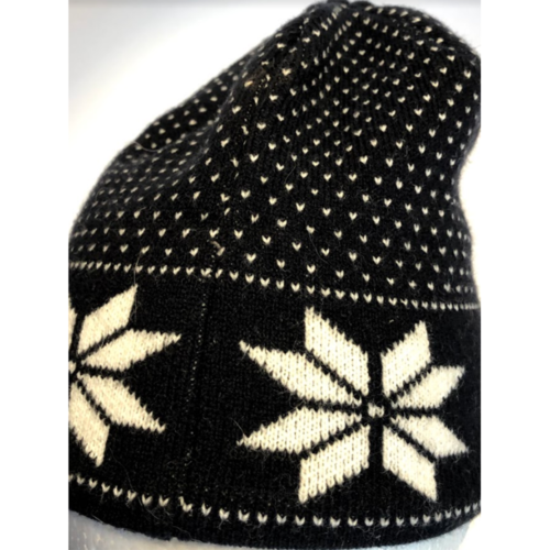 Womens Chicago Bears Snowflake Navy Blue Beanie Hat w/Tassles (77-8) image 2