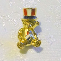 Avon Signed Goldtone Patriotic Enameled Teddy Bear Pin Brooch - $7.00