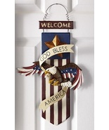 God Bless America Welcome Wall Door Hanging Plaque Patriotic 4th of July Decor - $22.00