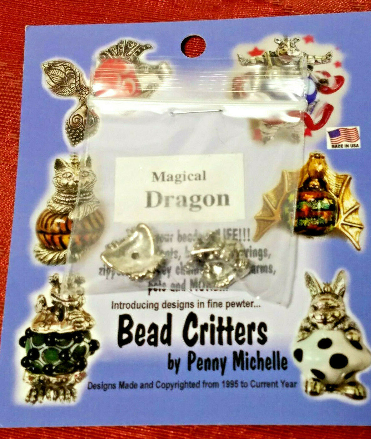 VINTAGE DRAGON BEAD CRITTERS BEAD WRAP BY PENNY MICHELLE 1995 SILVERTONE