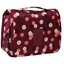 Creative Wine Red Flower Pattern Foldable Cosmetic Bag Handbag