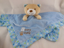 "Garanimals Teddy Bear Security Blanket Rattle Blue Satin & Fleece 14.5"" ... - $12.68 CAD"