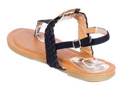 Women Flat Slingback Sandals Black Thong rqRwAOSr
