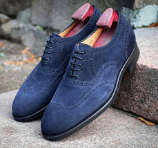 Handmade Men Navy Blue Wing Tip Heart Medallion Dress/Formal Oxford Suede Shoes image 3