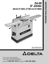 Delta Jointer 37-365 - 37-680 - 37-680X DJ-20 OP Manual - $10.88