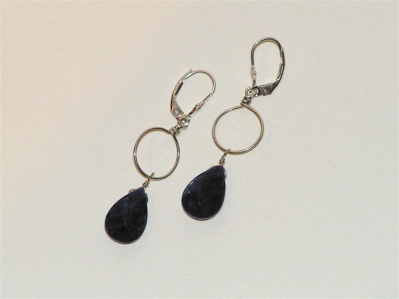 Silver Lapis Circle Drop Earrings